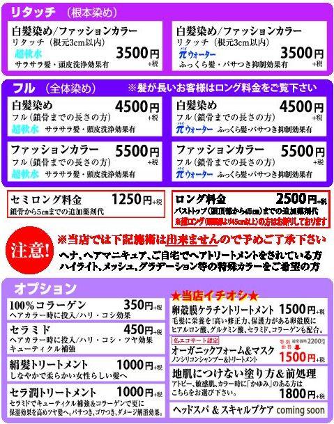 染髪美屋 価格表